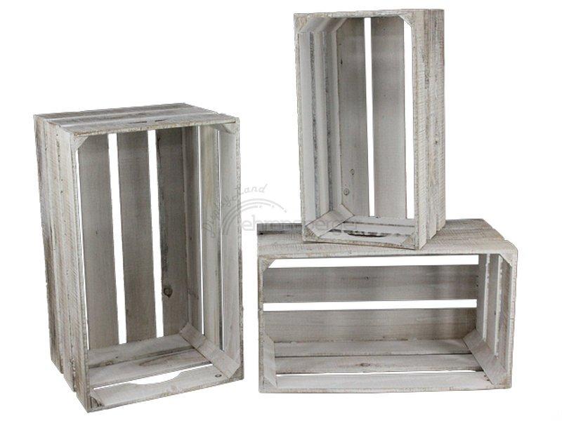 holzkisten set big 3 tlg white washed. Black Bedroom Furniture Sets. Home Design Ideas