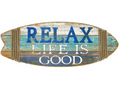 Surfbrett Relax Life is Good blau/weiss, 85 x 33 x 2.5 cm
