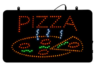 LED-Schild Pizza Blinkeffekt