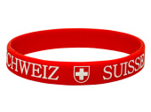 Fan-Armband Silikon Switzerland rot-weiss