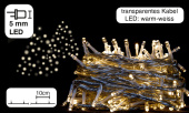 Lichterkette 100 LEDs warmweiss, 10m, Kabel transparent,...
