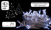 Lichterkette 100 LEDs kaltweiss, 10m, Kabel transparent,...