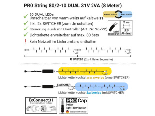 PRO Stringlight Dual 2x4m ExConnect31, outdoor IP44, 31V 2VA, 2 x 40 LEDs, inklusive 2 Switcher, ohne Anschlusskabel