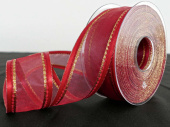 Band Organza rot/gold 40 mit Satinkante, 25mm x 20m
