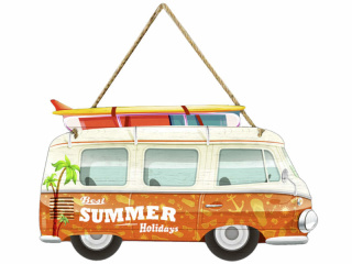 Schild Campingbus Summer orange/bunt, 52 x 30.5 x 0.9