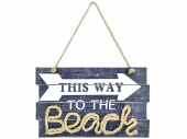Schild This way to the Beach grau/weiss, 42 x 26 x 1.5 cm