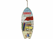 Surfbrett Summer Holiday bunt, 78 x 30 x 1.8 cm